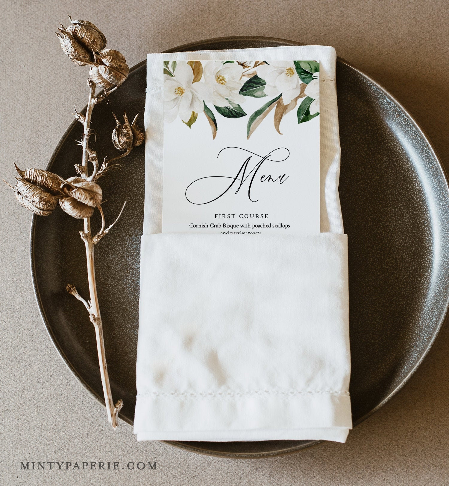 Southern Wedding Reception Food: Magnolia Menu Template, Southern Wedding Menu Card