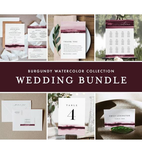 Burgundy Wedding Bundle, Watercolor Wedding Essential Templates, Invitation Suite, Editable Text, Instant Download, Templett #093B-BUNDLE