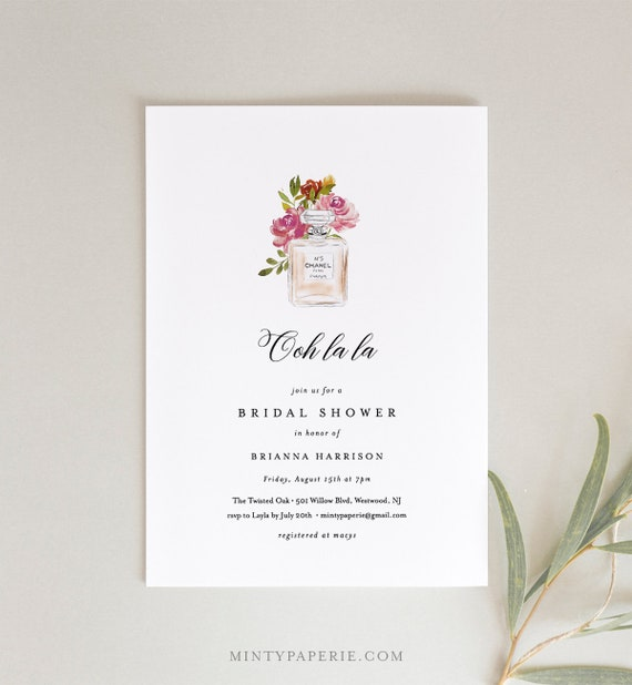 Paris Bridal Shower Invitation Template, Printable French Wedding Shower Invite, Chanel Parfum, INSTANT DOWNLOAD, 100% Editable Text #172BS