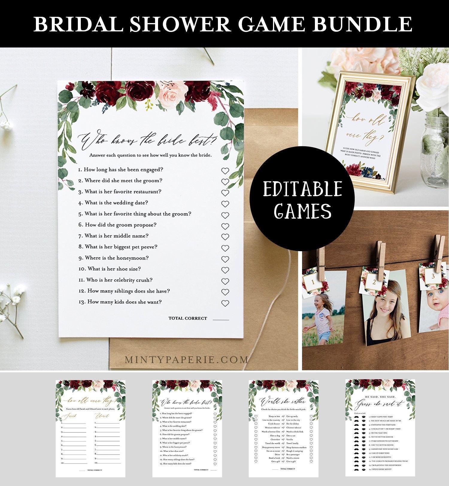 Bridal Shower Game Bundle, Editable Games, INSTANT