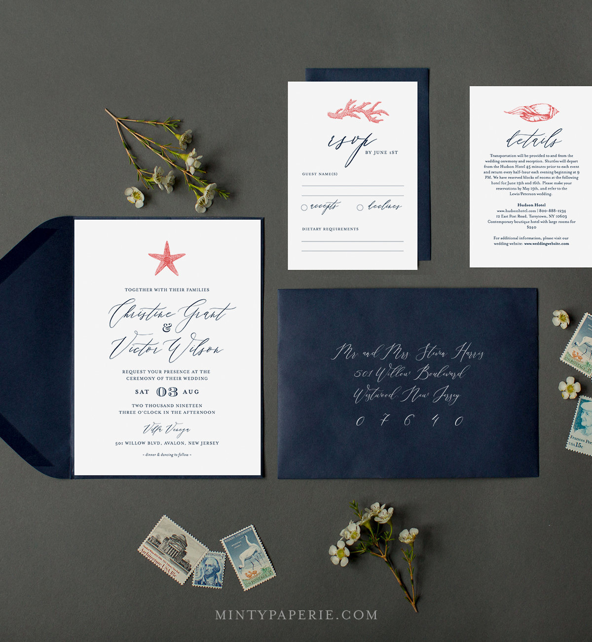 Beach Wedding Invitation Template Instant Download 100 Editable