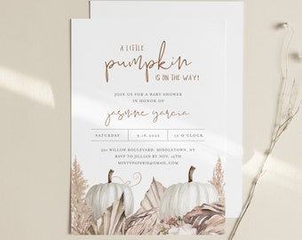 Fall Baby Shower Invitation, A Little Pumpkin On the Way, Bohemian Baby Invite, Editable Template, Instant Download, Templett #0022-216BA