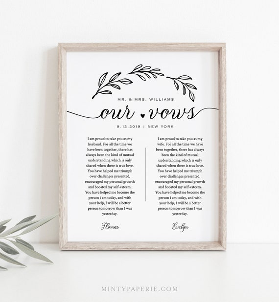 Wedding Vow Wall Art, 1st Year Anniversary Gift, Rustic Wedding Keepsake, Editable Template, INSTANT DOWNLOAD, 8x10, 11x14, 16x20 #027-166LS