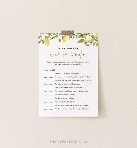 Over or Under Baby Shower Game, 100% Editable Text, Printable Baby Shower, Citrus Lemon & Greenery, Instant Download, Templett #089-110BASG