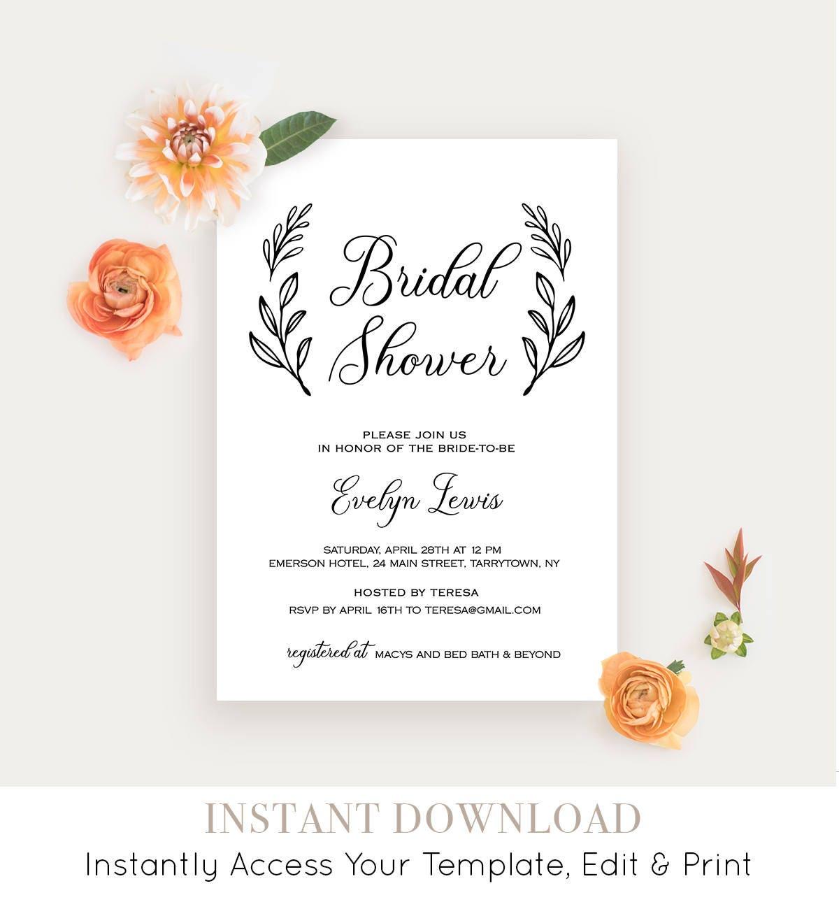 6f4a27144ead Bridal Shower Invitation Printable