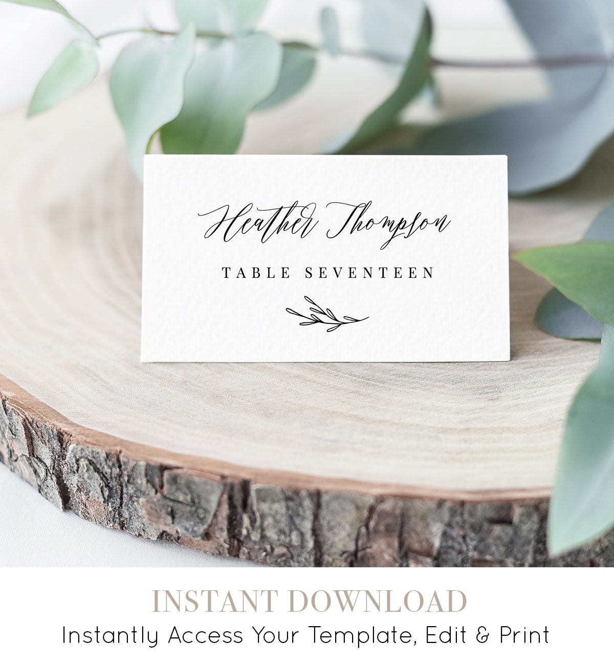 INSTANT DOWNLOAD, Wedding Place Card Printable, Escort Card Template ...