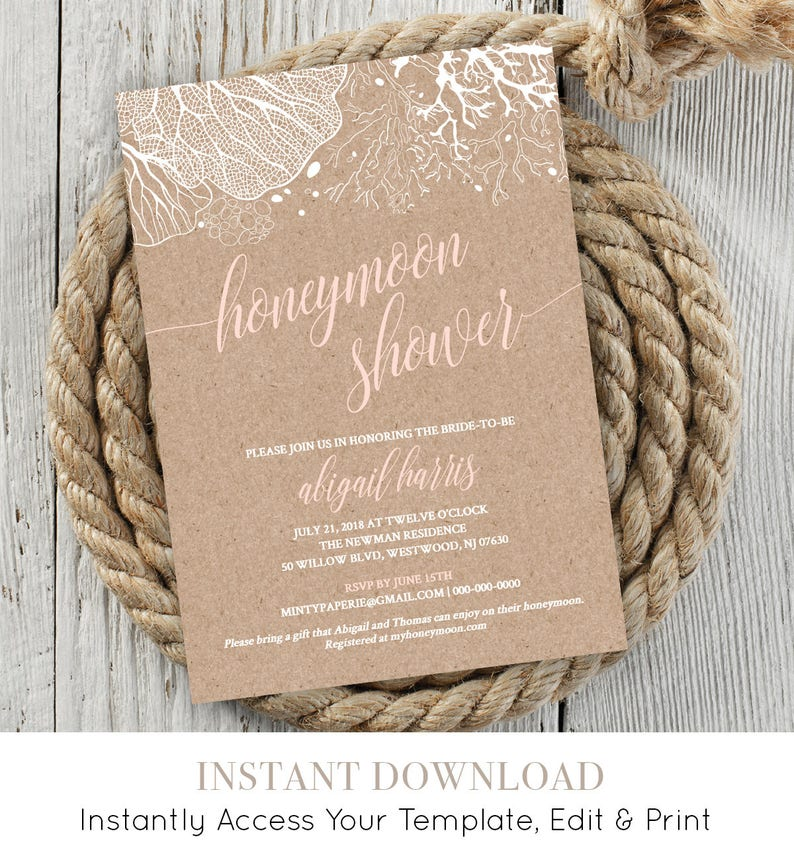 7e11b71eb39d Honeymoon Shower Invitation Bridal Shower Invite Wedding