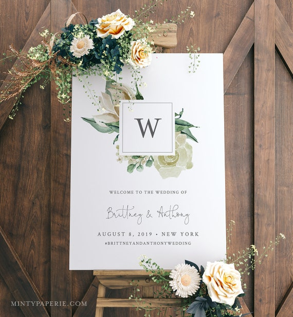 Wedding Welcome Sign, Instant Download, 100% Editable Text, Printable Monogram Poster Template, Cream Florals, Templett, DIY #057-130LS