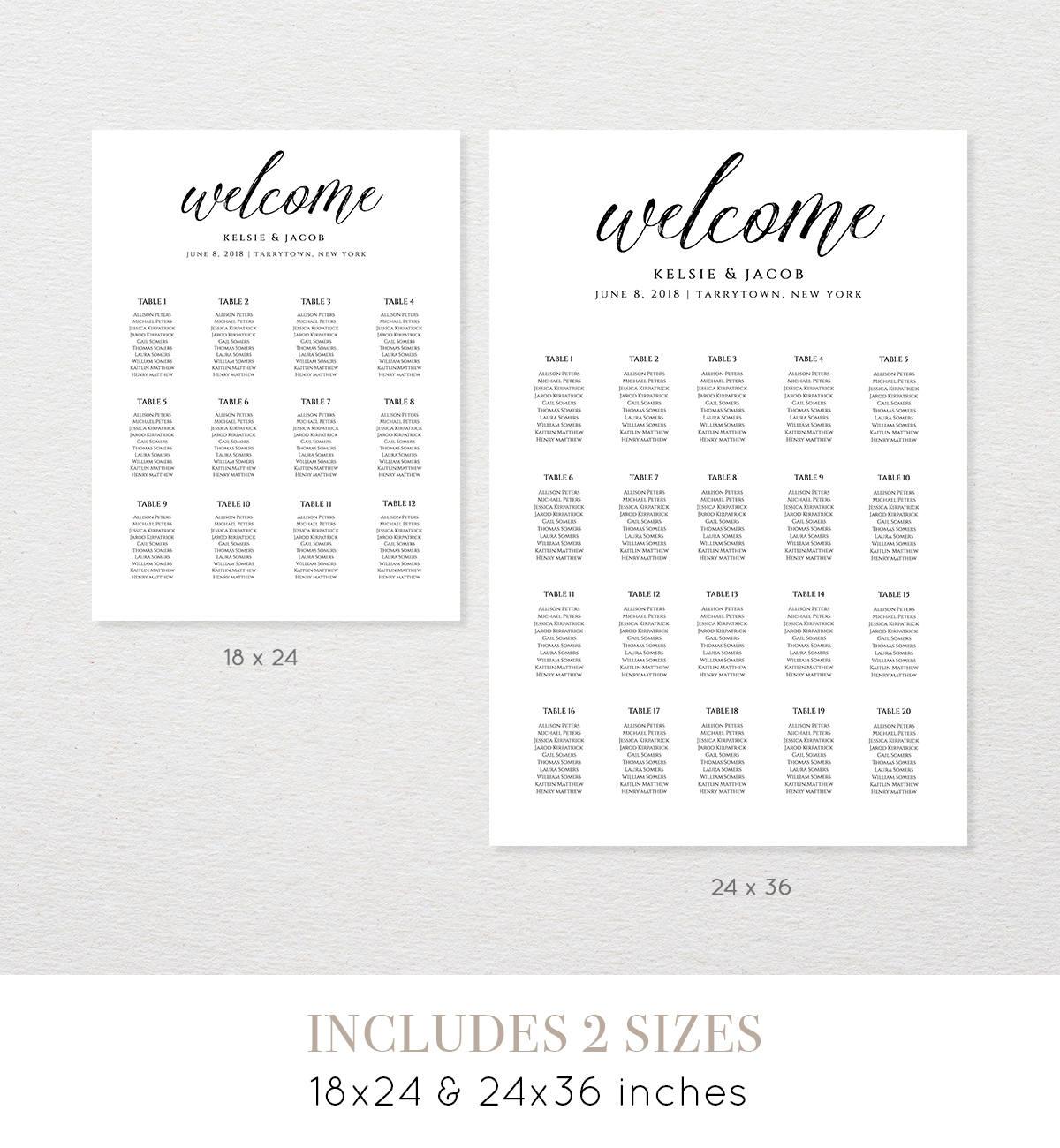 Wedding Seating Chart Template, Editable, Table
