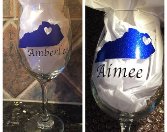 Kentucky personalized wine glass or beer glass