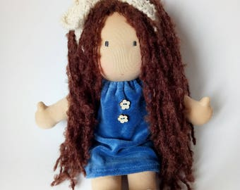 READY TO SHIP waldorf doll,  14 inches, eco doll,  cloth doll,  fabric doll, gift for a girl, zero waste, natural, eco friendly gift