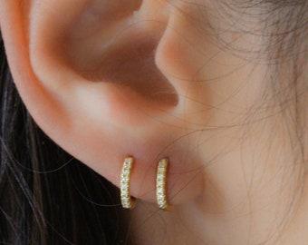 47a119e60 Diamond Huggie Earrings, Gold CZ Huggies, Huggies, Gold Tiny Hoops, Dainty  Hoops, Silver Small Hoop Earrings, Bridesmaid Gift, Small Hoops