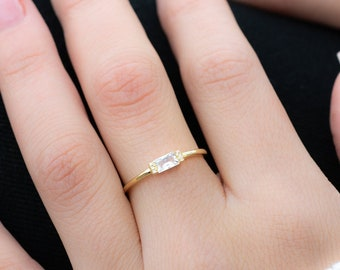 diamond band ring minimal ring Baguette ring lilac ring delicate gold ring dainty cz ring stacking ring dainty ring eternity ring