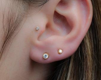 901ff22b8 Tiny Diamond Stud Earrings, 3mm CZ Studs, Dainty Stud Earrings, Small Stud  Earrings, Cartilage Piercing Stud Earrings, Minimalist Earrings