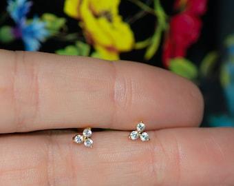 Three Stone CZ Stud Earrings, Triangle CZ Earrings, Simple Gold Stud Earrings, Dainty Stud Earrings, Triangle Shaped Diamond Earrings