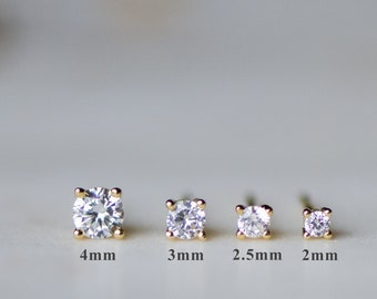 Tiny Stud Earrings, Tiny Studs, Stud Earrings, Minimalist Earrings, Diamond Stud Earrings, 2mm Studs, Cartilage Studs, Tragus Studs, Gift