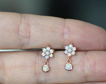 Sterling Silver Dotted White Opal Dangle Earrings