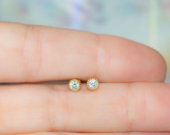 Tiny Diamond Stud Earrings, 3mm CZ Studs, Dainty Stud Earrings, Small Stud Earrings, Cartilage Piercing Stud Earrings, Minimalist Earrings