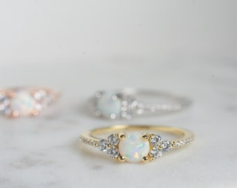 White Opal Ring, Opal Stacking Ring, White Opal and CZ Ring, Dainty Gold Opal Ring, Sterling Silver Opal Ring, Delicate Opal Ring, Gold Opal