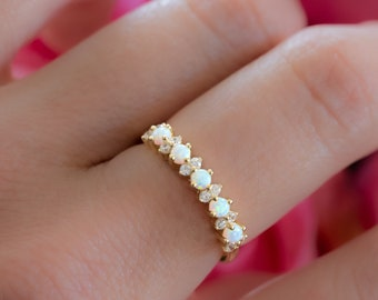 Dainty Opal Ring, Opal Stacking Ring, White Opal and CZ Ring, Gold Opal Ring, Sterling Silver Opal Ring, Delicate Opal Ring, Bridesmaid Gift