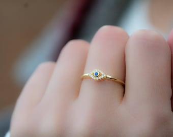 Art ring. Bohemian eye ring Yoga inspired ring Stackable ring Handmade ring Evil eye ring Sterling silver plated ring Eye ring