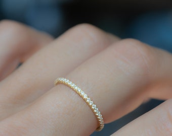 Dainty Diamond Stacking Eternity Ring Gold Minimalist Ring CZ Ring Simple Diamond Ring Silver Ring Gift for Her Delicate Ring Eternity Band