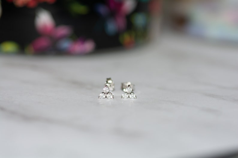 Three Stone CZ Stud Earrings Triangle Shaped Diamond Earrings Dainty Stud Earrings Triangle CZ Earrings Simple Gold Stud Earrings