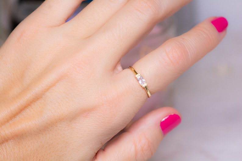 Dainty Simple Baguette Stacking Ring Gold Minimalist Ring Delicate Ring Simple Diamond Ring Gift Thin Ring Sterling Silver Ring
