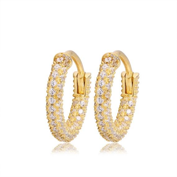 Small Gold Hoop Earrings, Diamond Huggie Earrings, Minimalist Hoops, Pave Cz Earrings, Gold Cz Huggies, Gold Tiny Hoops, Silver Hoops by Etsy