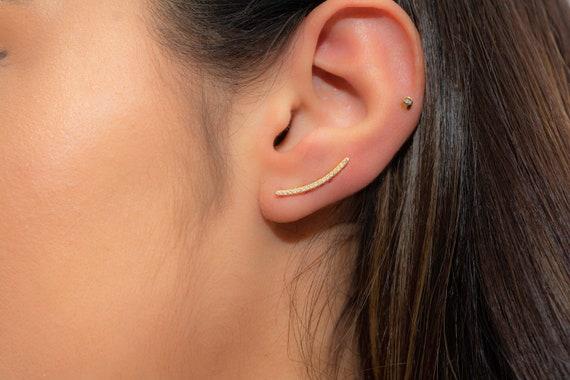Dainty Crystal Ear Climbers Earcuffs Gold Ear Pins Delicate Ear Crawler Earrings Gold Plated 925 Sterling Silver CZ Diamond Ear Climbers