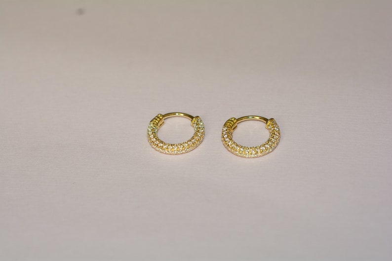 Gold Tiny Hoops Small Hoop Earrings Small Gold Hoop Earrings Gold CZ Huggies Diamond Huggie Earrings Pave CZ Earrings Silver Hoops