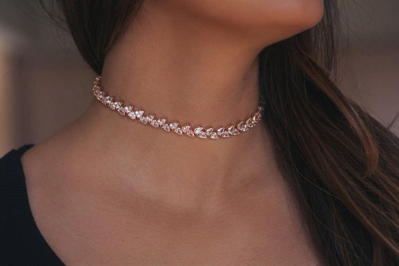 24853875c Diamond Choker CZ Choker Fancy Choker Necklace Prom Jewelry image 0 ...