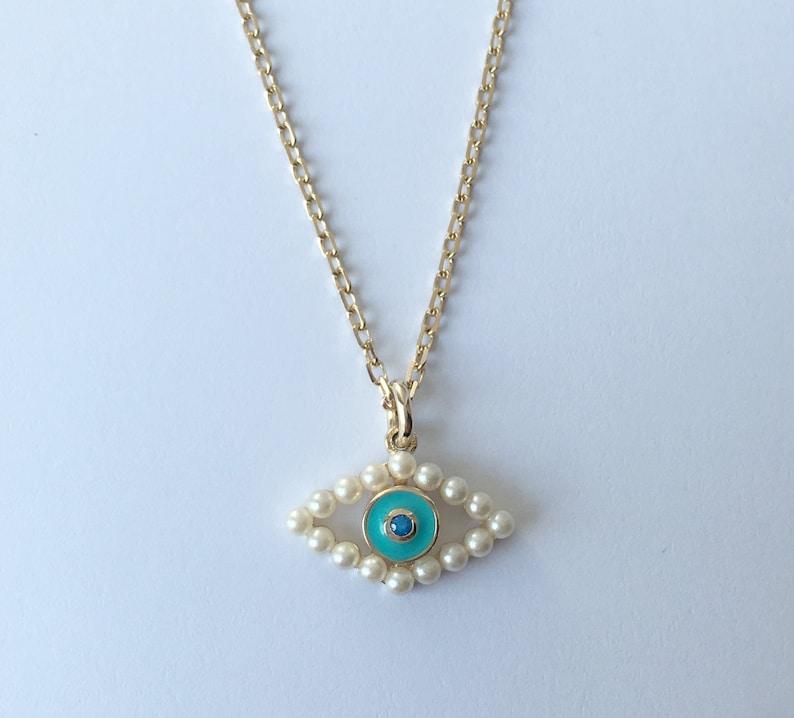 Evil Eye Necklace Gift Silver Evil Eye Necklace Evil Eye Charm Bridesmaid Gift Gold Evil Eye Necklace Pearl Necklace Pearl Jewelry