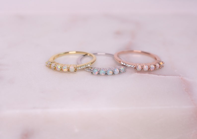 Sterling Silver Opal Ring Delicate Opal Ring White Opal and CZ Ring Opal Ring Opal Stacking Ring Gold Opal Ring Bridesmaid Gift