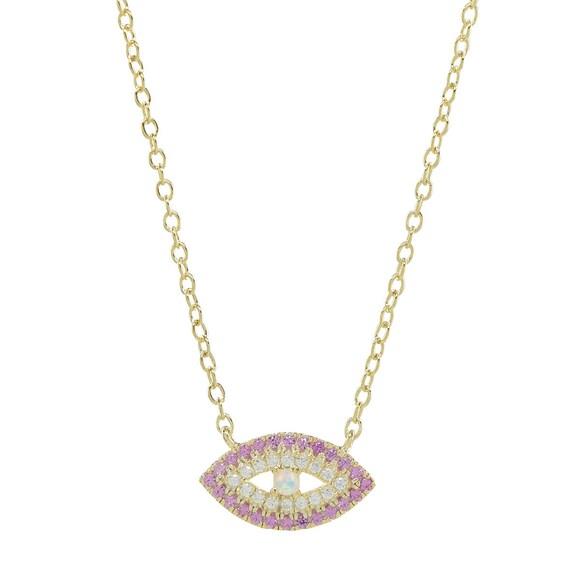 Opal Necklace  Evil Eye Necklace  Opal Evil Eye Necklace  Cz Opal Necklace  Kabbalah Jewelry  Sterling Silver Evil Eye  Yoga Jewelry