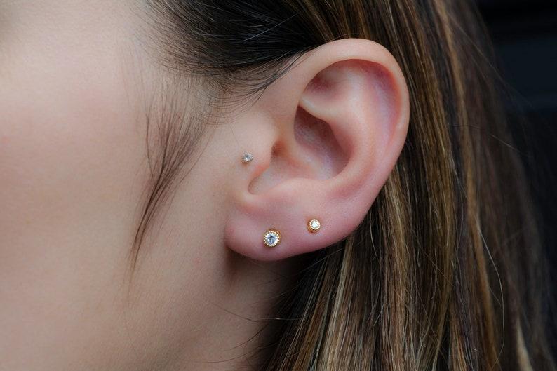 Tiny Diamond Stud Earrings 3mm CZ Studs Dainty Stud image 1