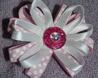 Home made pink and white hair barrette, clip with banana clip