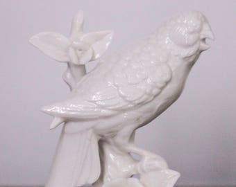 White Porcelain Parakeet on a Branch with Roses