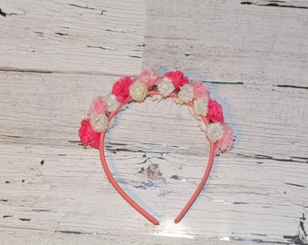 Floral Headband with Pink and White Flowers
