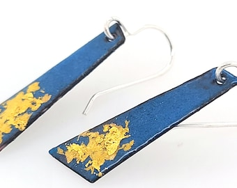 Sterling Silver Mid Century Modern Inspired Modernist Vintage Style Geometric Blue Enamel Drop 24K Gold Sterling Earrings