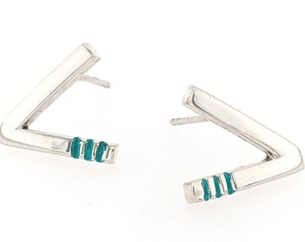 Sterling Silver Minimalist Mid Century Modern Angled Bar Stud Earrings with Hand-Stamped Line Pattern