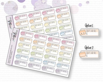 CREDIT CARD BILL Stickers perfect for your Planner, Journal, or Scrapbook