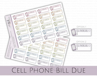 CELL PHONE BILL Stickers perfect for your Planner, Journal, or Scrapbook