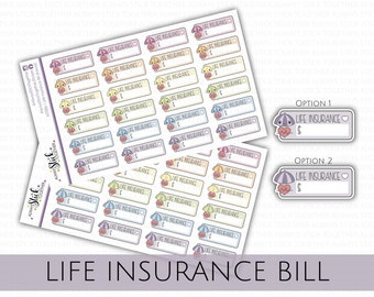 LIFE INSURANCE BILL Stickers perfect for your Planner, Journal, or Scrapbook