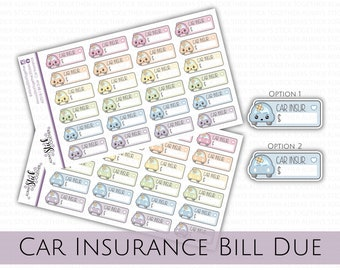 CAR INSURANCE DUE Stickers perfect for your Planner, Journal, or Scrapbook