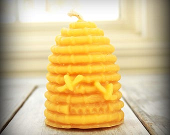 Beeswax Candle / Organic Beeswax Candle, Hive Skep Candle, Beehive Candle, Votive Candles, Honey Bee Candles, Wax Candles, Beeswax Votives