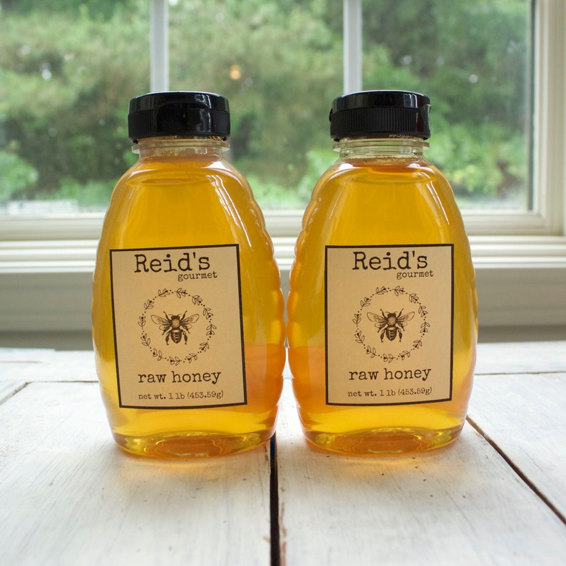 Raw Honey 2 pounds, Pure Honey, Honey, Clover & Blueberry Honey