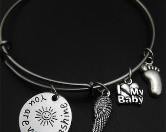You are my Sunshine Bracelet, Angel Wing, I love my baby, baby foot, bangle bracelet, you are my sunshine