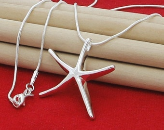 Sterling Silver Starfish Necklace, starfish necklace, sterling silver, silver necklace, valentines gift