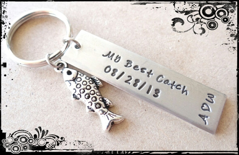 Custom Anniversary Keychain Anniversary gift First Anniversari Best Catch Anniversary Keychain valentines gifted with 1aa Gift for him